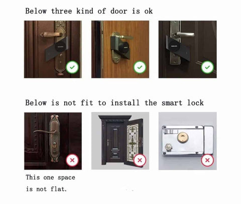 Duesgo-Sherlock Smart Lock M1 App Control Indoor Touchable 3M Glue Built-in MJSC Chips App Virtual Key 3800mAh Li Battery -Right and Left Hand Door door kinds