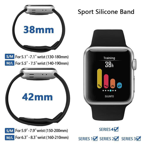 Duesgo.com- oft Silicone Replacement Sport Band For 38mm Apple Watch Series1 2 42mm Wrist Bracelet Strap