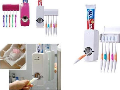 duesgo-Automatic Toothpaste Dispenser With Five Toothbrush Holder Set