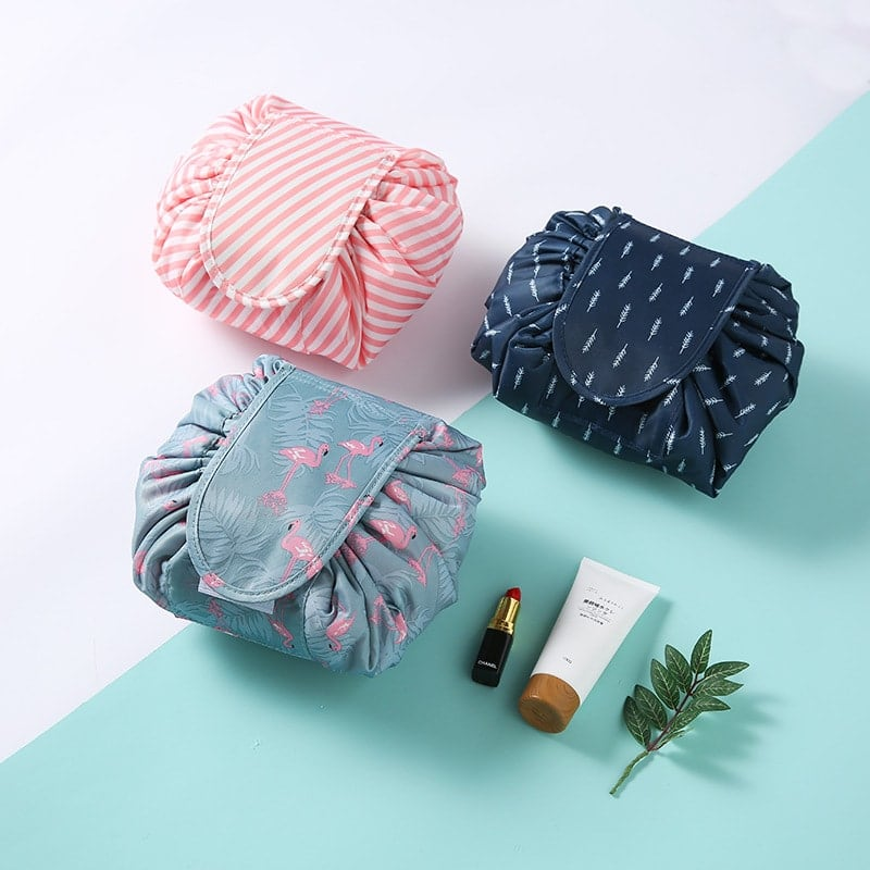 duesgo.com-Lazy Drawstring Cosmetic Travel Pouch-Blue-Pink-Grey with figures- Makeup bag organizer