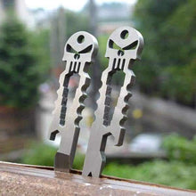 Duesgo-Stainless Steel Skull EDC Survival Keychain Pocket Gear Tool Wrench, Skull Bottle Opener and Crowbar- stand on the wood