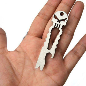 Duesgo-Stainless Steel Skull EDC Survival Keychain Pocket Gear Tool Wrench, Skull Bottle Opener and Crowbar-silver on the hand