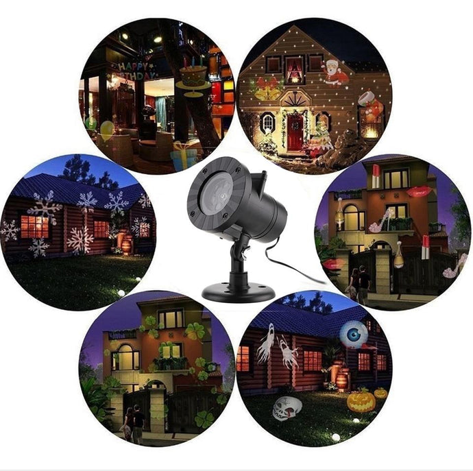 Duesgo.com -LED Christmas Snowflake Laser Outdoor Projector Lights with 12 Patterns