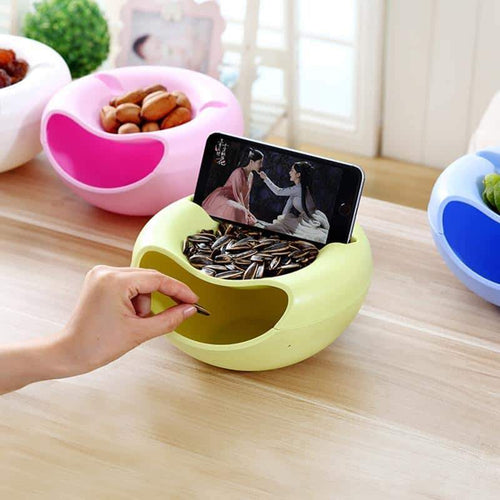 duesgo-Double Layer Snack Bowl with Phone Holder, Lazy Double-deck Creative Shape Bowl Perfect for Seeds Nuts And Dry Fruits Storage Box Container green item