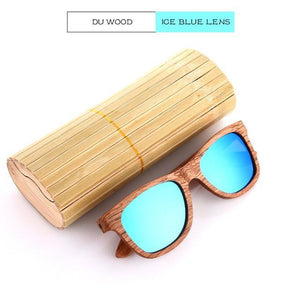 Duesgo Du Wood/Ice Blue Bamboo Sunglasses