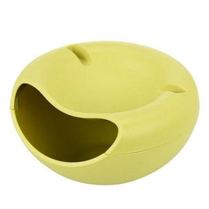 duesgo-green-Double Layer Snack Fruit Plate Bowl Dish with Phone Holder for Home Lazy Tools