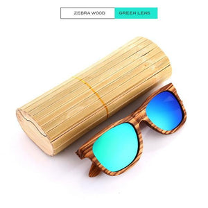 Duesgo Zebra Wood/Green Bamboo Sunglasses