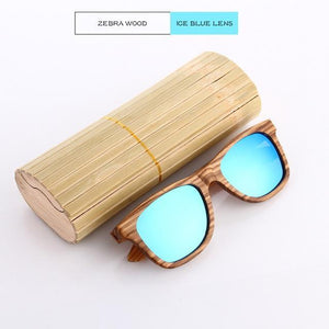 Duesgo Zebra Wood/Ice Blue Bamboo Sunglasses