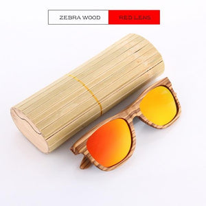 Duesgo Zebra Wood/Red Bamboo Sunglasses