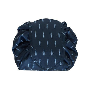 duesgo.com-Lazy Drawstring Cosmetic Travel Pouch-blue with feather on it