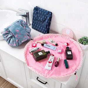 duesgo.com-Lazy Drawstring Cosmetic Travel Pouch-makup bag