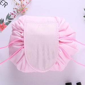 duesgo.com-Lazy Drawstring Cosmetic Travel Pouch-pink