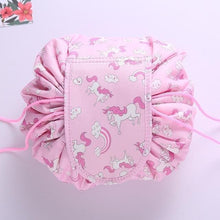 duesgo.com-Lazy Drawstring Cosmetic Travel Pouch-pink with unicorns