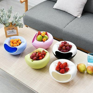 dusgo-Double Layer Snack Bowl with Phone Holder, Lazy Double-deck Creative Shape Bowl Perfect for Seeds Nuts And Dry Fruits Storage Box Container