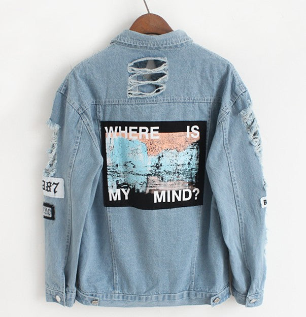 Women Frayed Denim Bomber Jacket