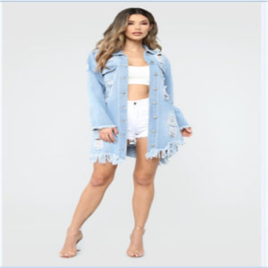 Slim Denim Coat Long Sleeve Casual Jean Jacket Outerwear