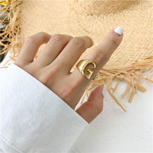 Gold Adjustable Opening Ring Initials