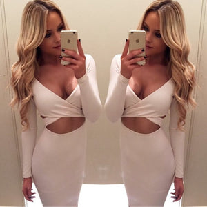 Long Sleeve Crosscut Elastic Bodycon Bandage Dress