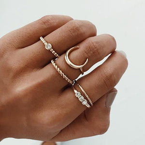 Crystal Midi Bohemian Moon Charms Ring Set