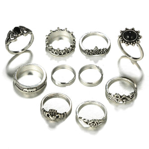 Bohemia Antique Silver Flower Rose Heart Crown Carved Rings Set