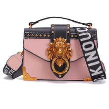 Metal Lion Head Mini Small Square Pack Shoulder Bag