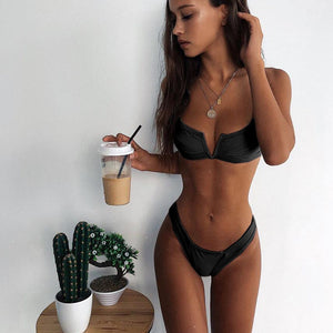 V Neck  Push Up Bikini