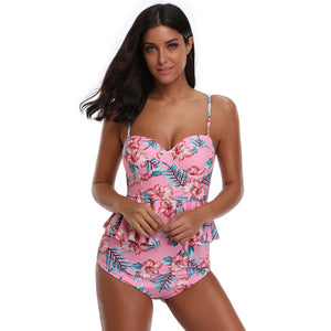 Women Push Up Swimsuit High Waisted Bathing Suit Floral Bikini