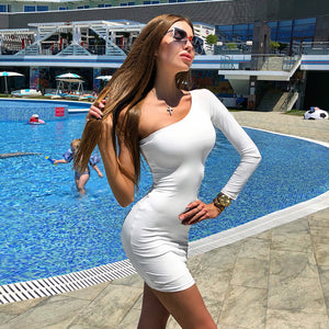 One Shoulder Slope Long Sleeve Dress