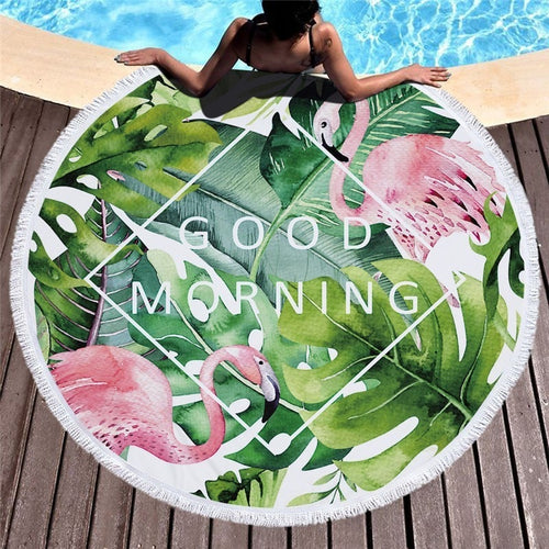 Tropical Paradise Round Beach Towel