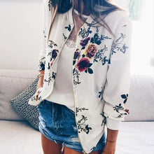 Retro Floral Zipper Up Bomber