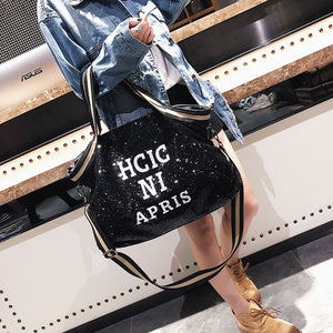 Sequin Tote Messenger Bag