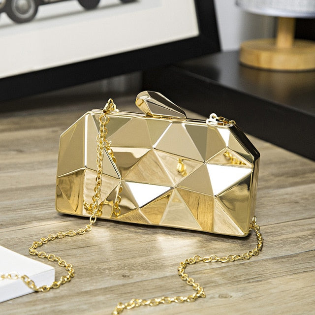 Geometry Clutch Evening Bag Elegant Chain Handbag