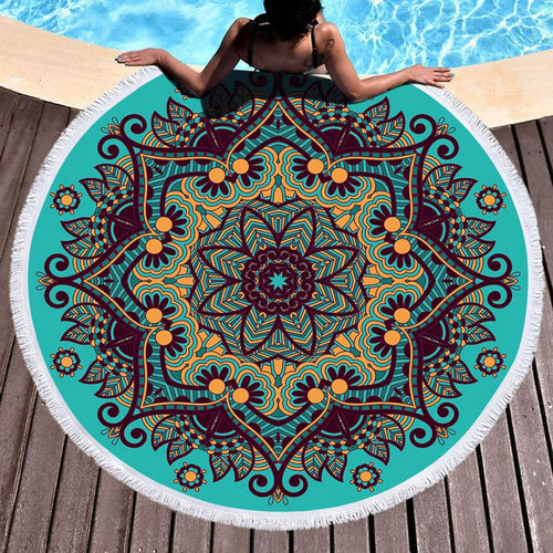 Geometric Round Beach Towel