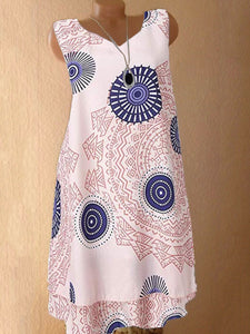 V Neck Geometric Printed Shift Dress