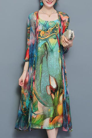 Printed Side Slit Cardigan And Dress Two-Piece Suit