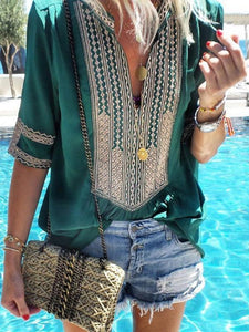 Ethnic Style Striped V-Neck Casual Blouse