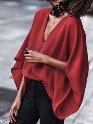 2019 V-Neck Batwing Sleeve Blouse