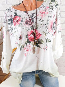 Round Neck  Loose  Floral Long Sleeve T-Shirts