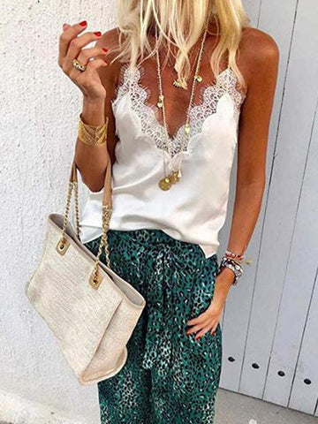 Lace Patchwork V Neck Casual Camis