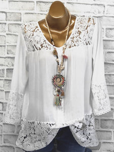 V Neck Loose Patchwork Lace Long Sleeve Shirts
