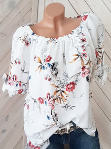 Round Neck  Loose Fitting  Printed Short Sleeve Blouse