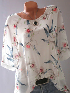 Round Neck Loose Flower Print Blouses
