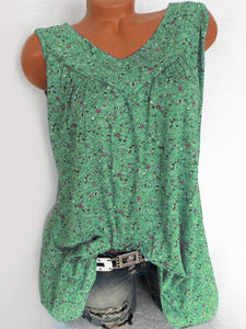 V Neck  Loose Fitting  Printed Sleeveless T-Shirts