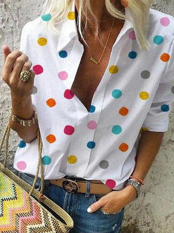 Small Lapel Long Sleeve Dots Printed Blouses