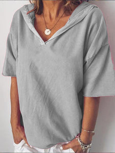 Summer V-Neck Loose Hooded T-Shirt