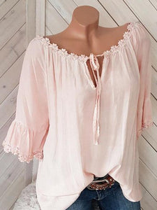 Women's Lace Loose Long Sleeve Blouses