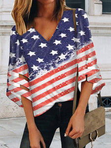 Casual V Neck Flag-Print T-Shirt