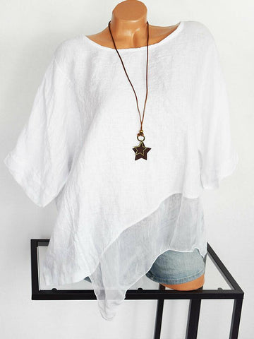 Casual Round Neck Pure Color Irregular Shirt