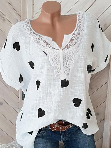 V Neck Lace Printed Short Sleeve T-Shirts