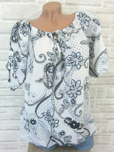 Casual Round Neck Hollow Out Printed Colour Shirt
